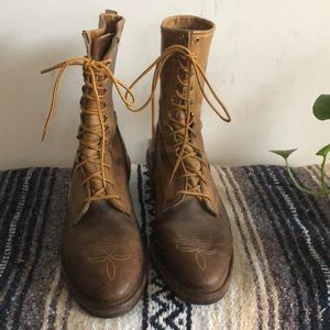 Chippewa lace up boot with cowboy boot details